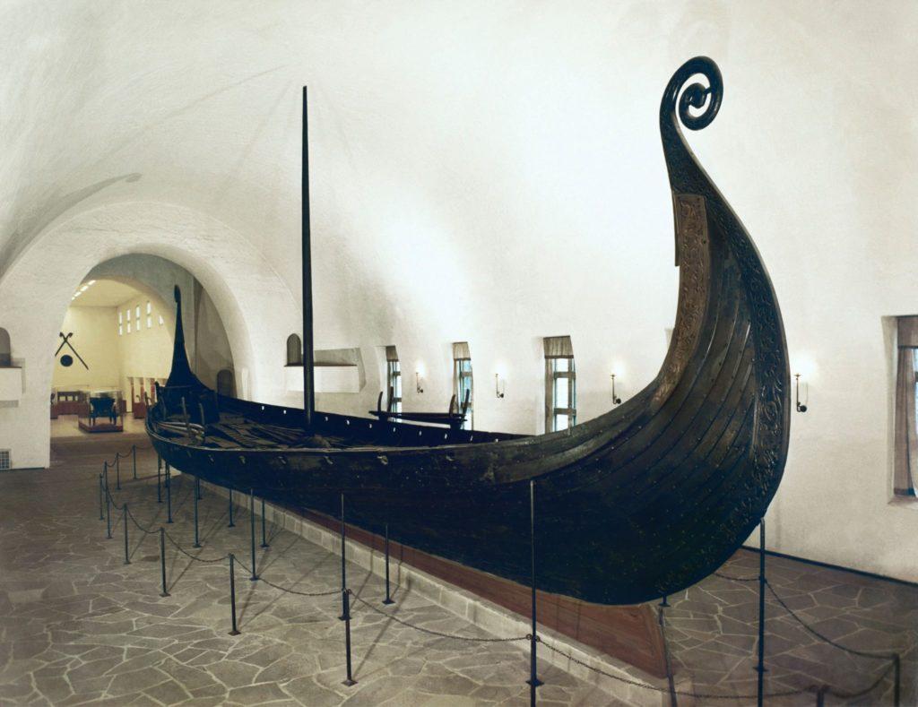 The Oseberg ship in the Viking Museum, Skandynawia