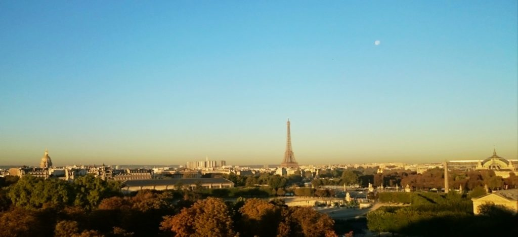 The l'Orangerie, Eiffel Tower & Grand Palais as seen from the Tuileries Gardens during sunrise in Paris.