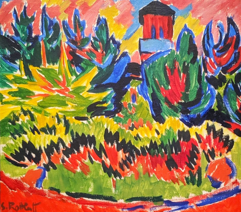 """Tower in the Park"" (1910) by Karl Schmidt-Rottluff"