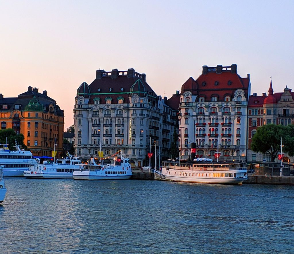 Old buildings in port Stockholm, Scandinavia