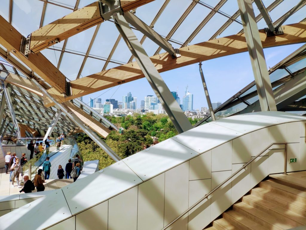 The Fondation Vuitton in Paris is located in the Bois de Boulogne, a park on 845 hectares of land (two and a half times the area of New York's Central Park)