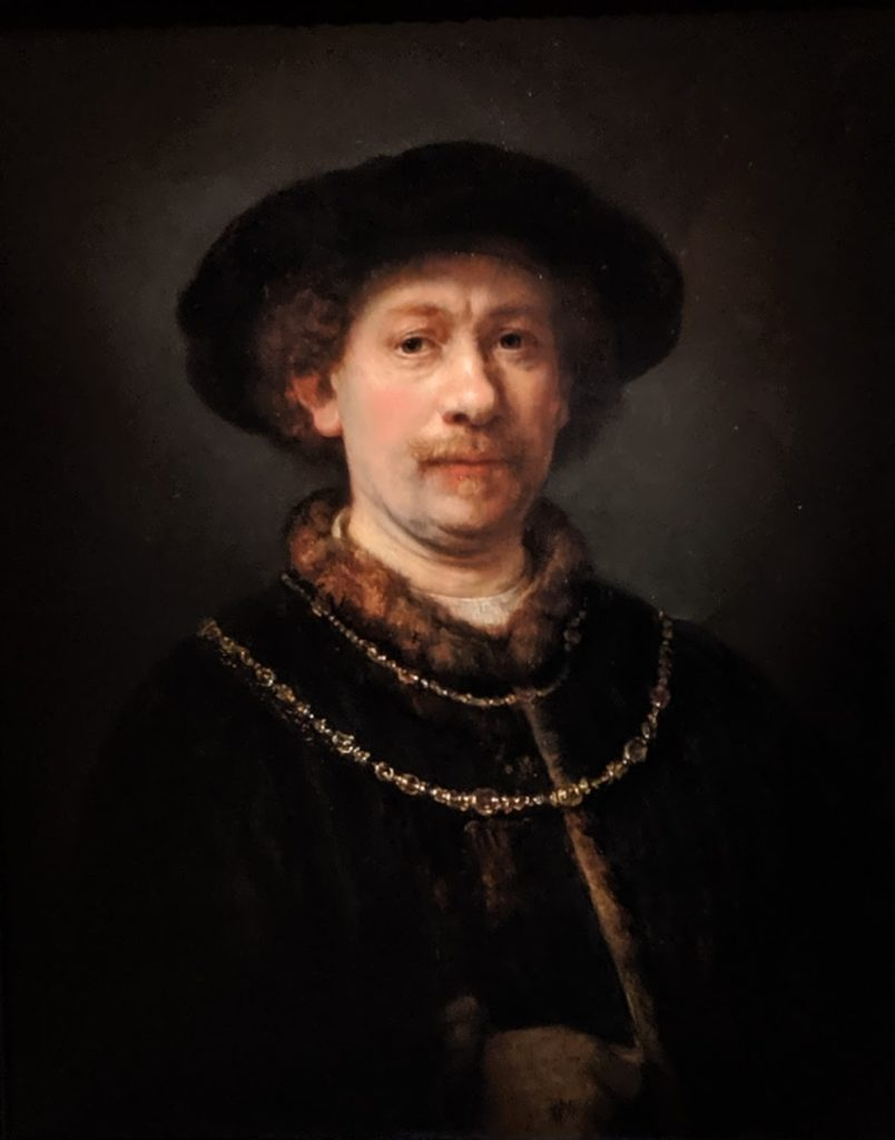 """Self-portrait Wearing a Hat and Two Chains"" by Rembrandt, Thyssen"